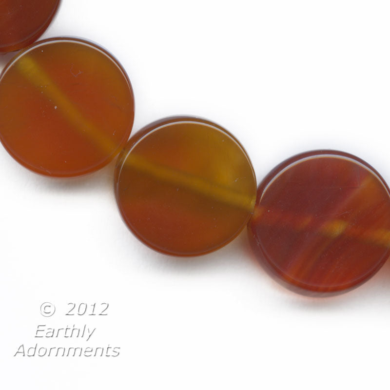 Carnelian agate disks beads. 15mm diameter. 4 pcs. B4-car278