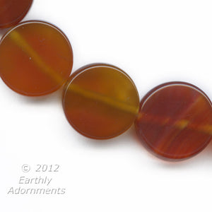Carnelian agate disks beads. 15mm diameter. 4 pcs. B4-car278(e)