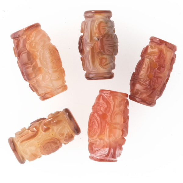 b4-car279- Carved carnelian agate barrel shaped bead, Chinese, 20x10mm. 1 pc.