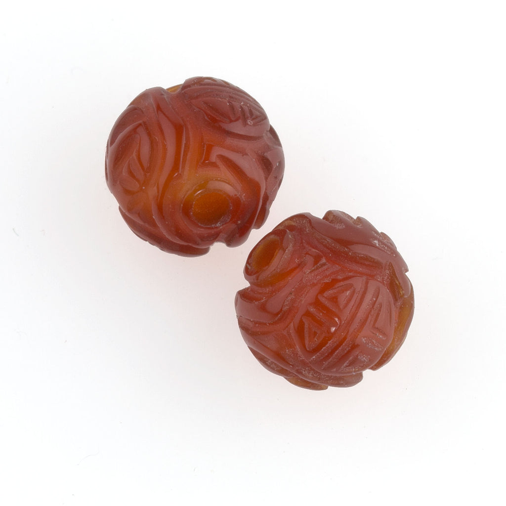 Deep carved translucent carnelian beads with longevity symbol. 10mm. 2pc. b4-car320