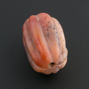 Old carved banded carnelian agate melon bead.  Nepal.  41x28mm.45 grams. b4-car349