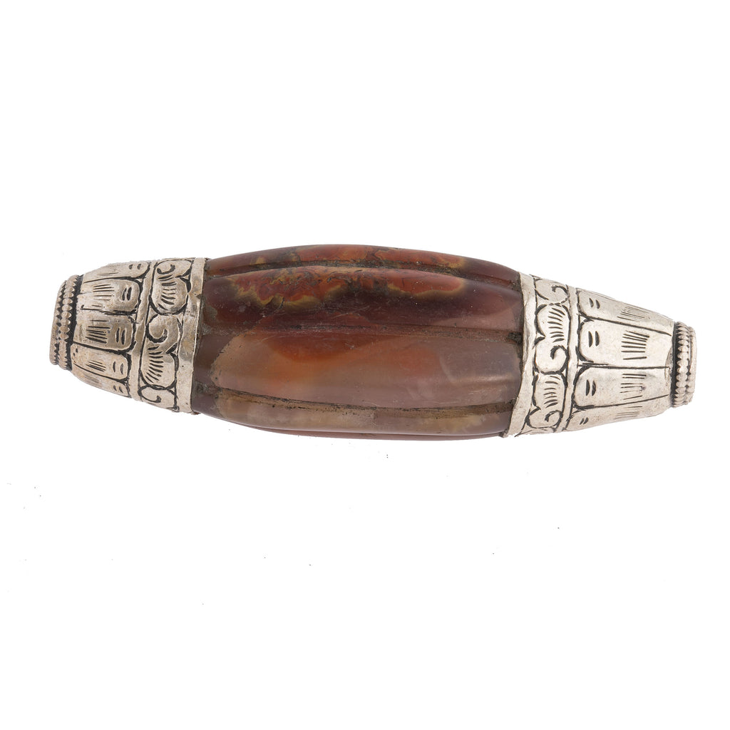 Vintage Nepal large opaque natural carnelian agate elongated melon bead with repousse sterling silver caps.  74x21mm. b4-car359