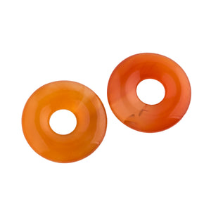 Vintage natural translucent carnelian agate donut disk. 24mm. 8mm hole. Pkg 2. b4-car364