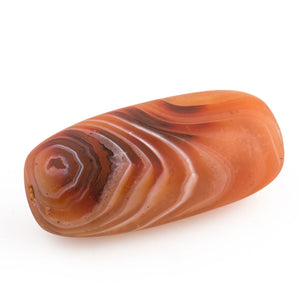 Stunning old carved banded carnelian agate oval bead.  India or Nepal.  46x22x19mm. b4-car367
