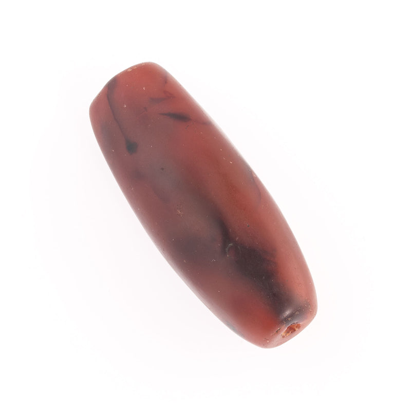 Stunning old carved banded carnelian agate oval bead. India or Nepal. 45x27x20mm. b4-car371