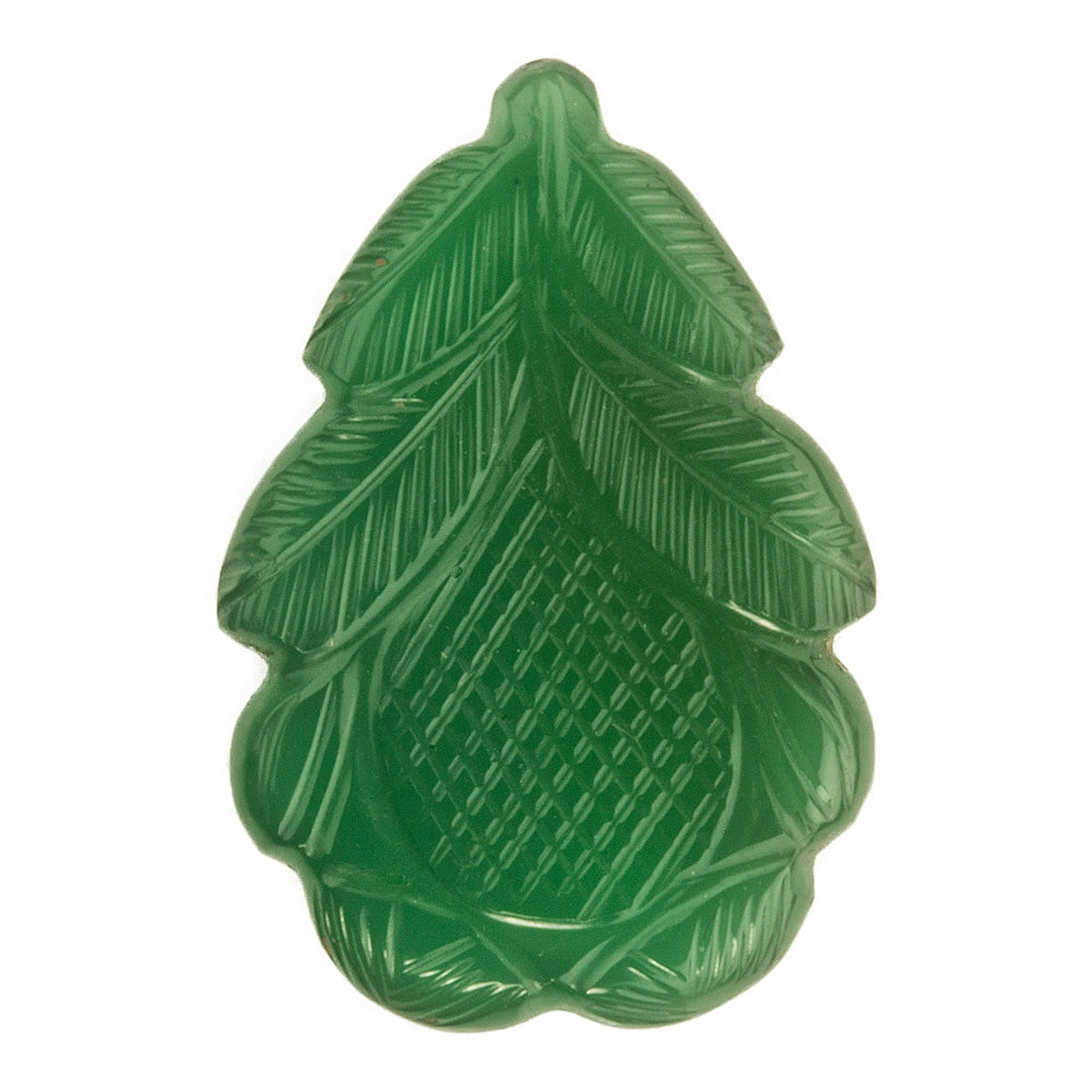 Vintage hand-carved green chalcedony leaf. b4-cha109
