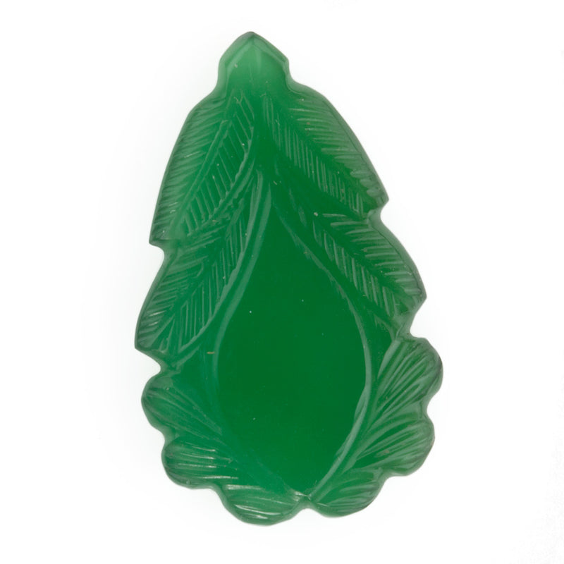 Vintage hand-carved green chalcedony leaf. b4-cha111