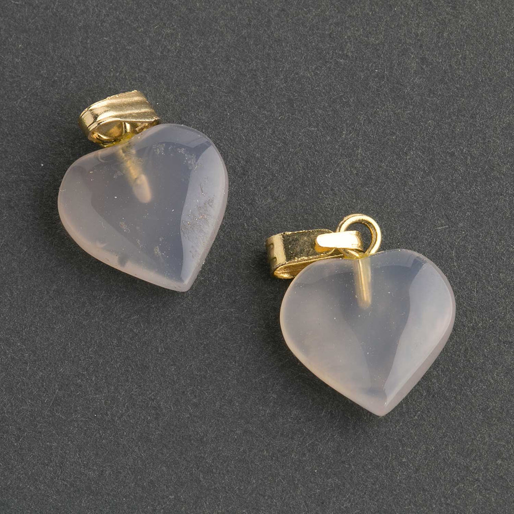 Vintage stock chalcedony carved heart charms with bails. 12mm. Package of 2. b4-cha113(e)