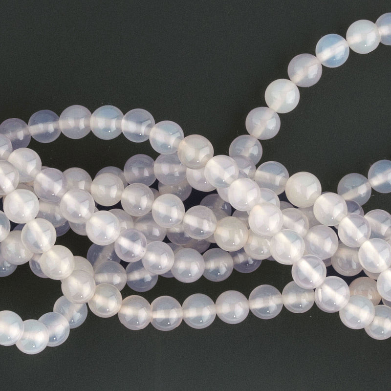 Natural old stock light blue chalcedony 4.5 smooth round beads, 16mm strand b4-cha115