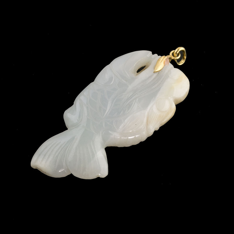 Vintage carved Chalcedony fish pendant with sterling silver vermeil bail. b4-cha117