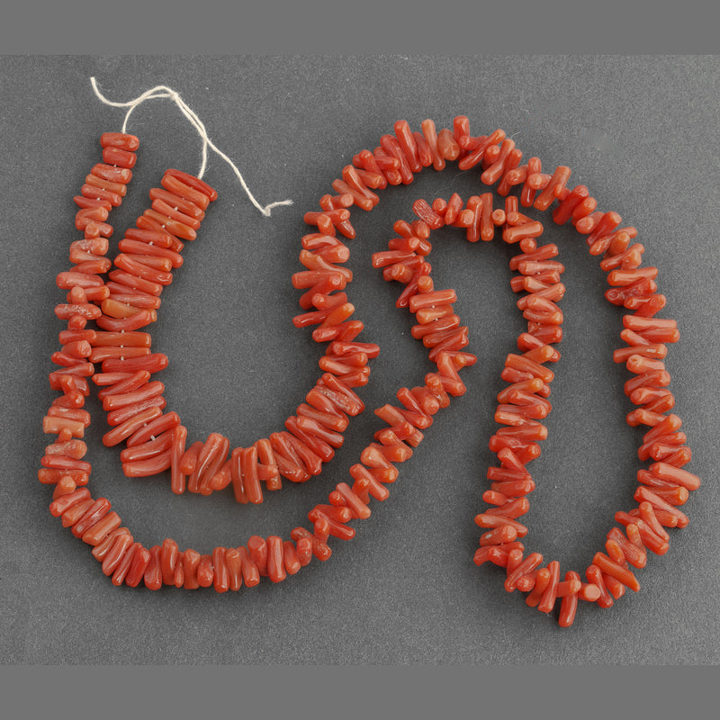 Vintage Italian natural Mediterranean red cupolini coral bead strand 24 inches. b4-cor423