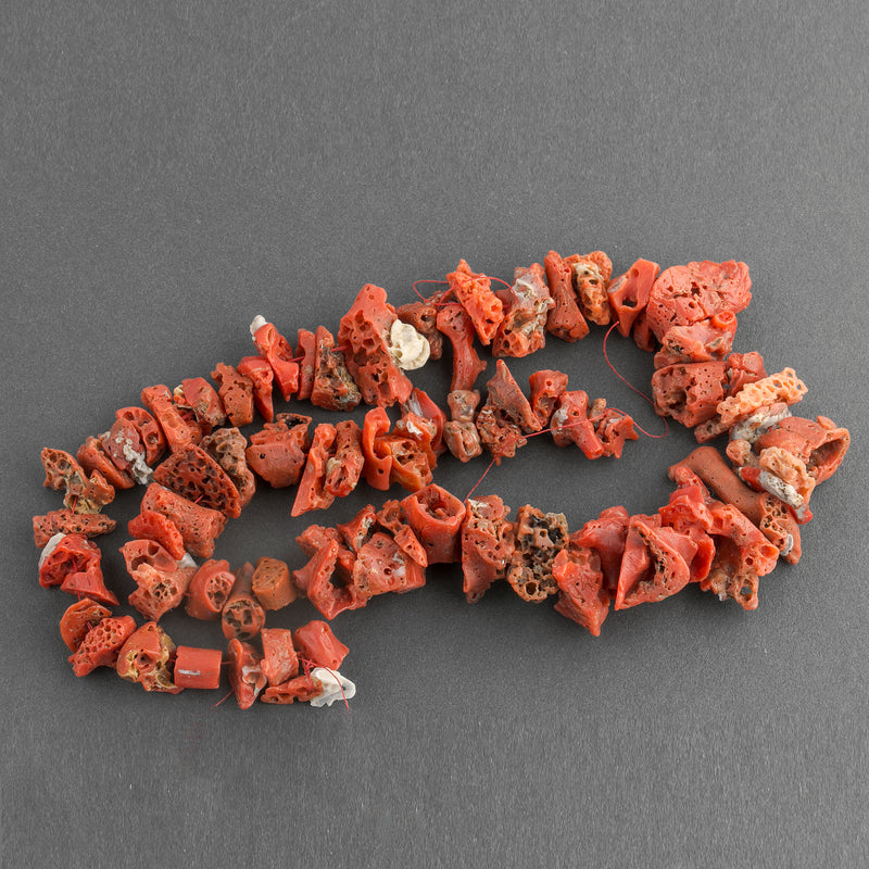 Vintage large natural undyed red Mediterranean coral nugget beads Italy 18 inch strand. B4-cor429