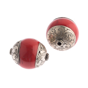 Vintage Tibetan repousse sterling silver capped coral bead. Avg. 32x27mm. 1 pc. b4-cor439