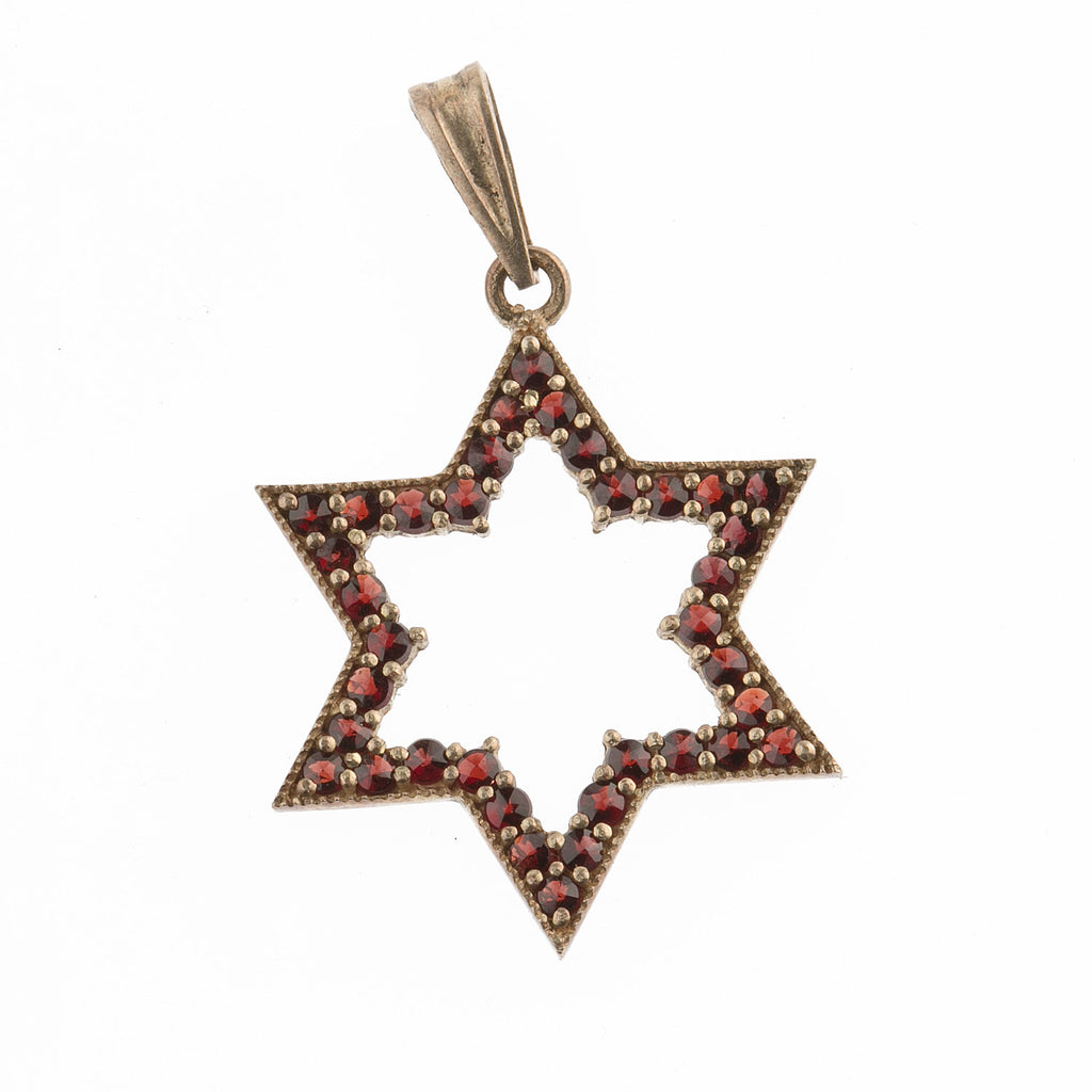 Vintage Bohemian garnet and 900 silver gold vermeil Star of David pendant.  b4-gar203