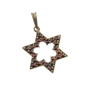 Vintage Bohemian garnet and 900 silver gold vermeil Star of David pendant.  b4-gar204