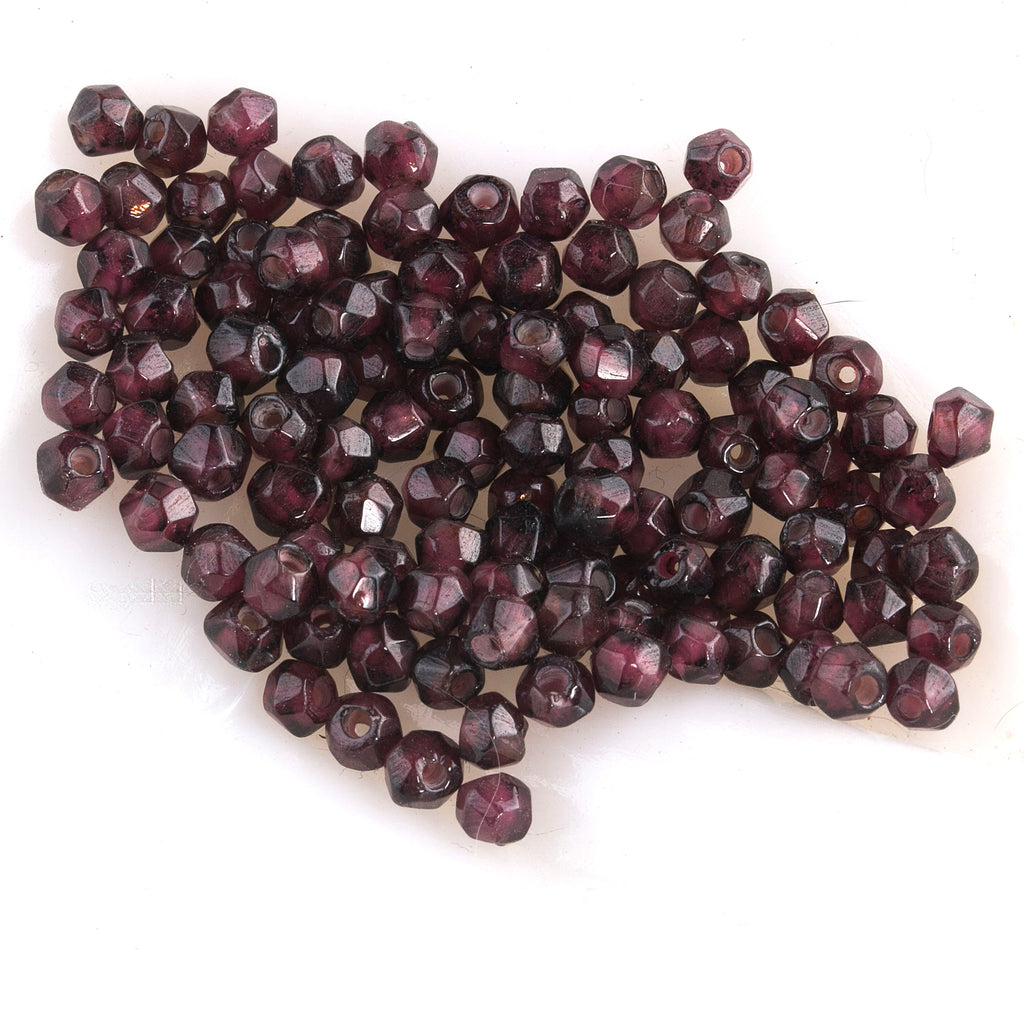 Vintage Almadine Garnet 4mm faceted bead. Pkg. 12. b4-gar217