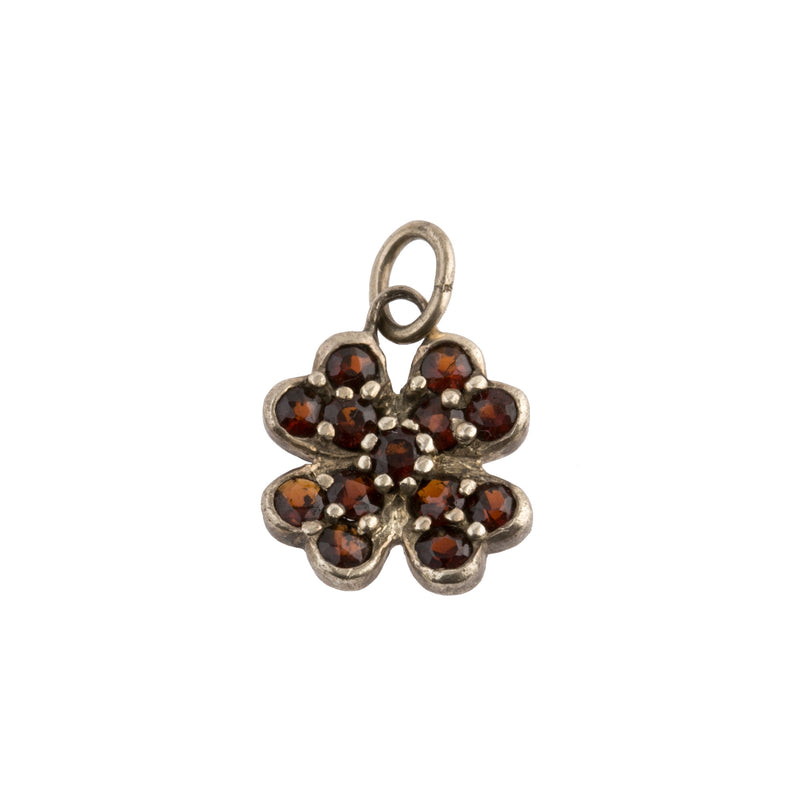 Vintage rose cut Bohemian garnet flower charm set in sterling silver goldwash vermeil. b4-gar222