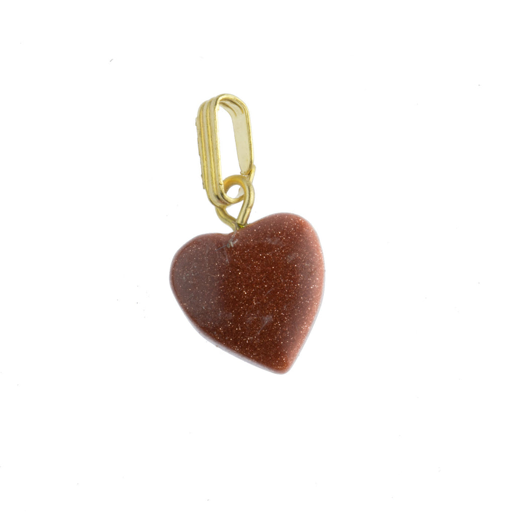 Vintage Goldstone heart. 9mm. Pkg of 2. b4-gol204-1