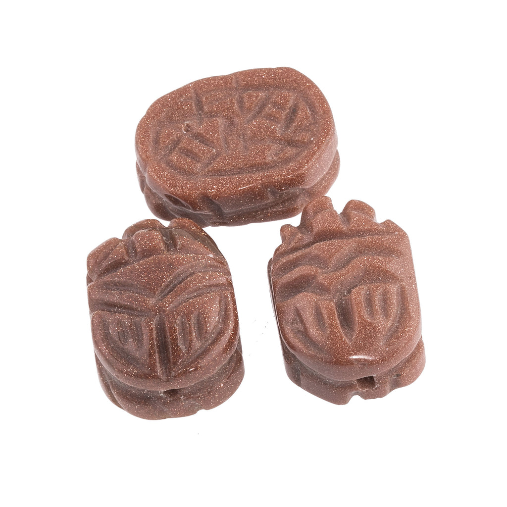 Carved Goldstone scarab beads, 18x13mm. package of 2. b4-gol208