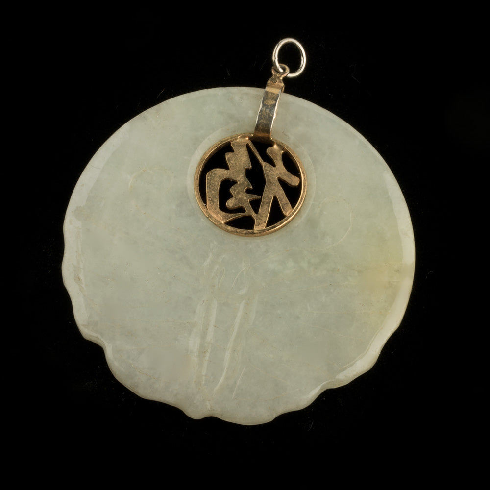 Vintage natural pale green jadeite pendant with sterling silver. b4-jad476