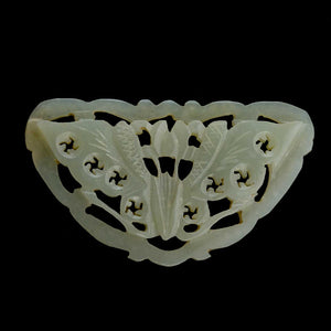 Vintage hand carved nephrite jade moth.plaque, Chinese export 50x28mm. b4-jad482(e)