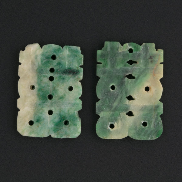 Antique Chinese green jade buttons, 1 pair. b4-jad484(e)