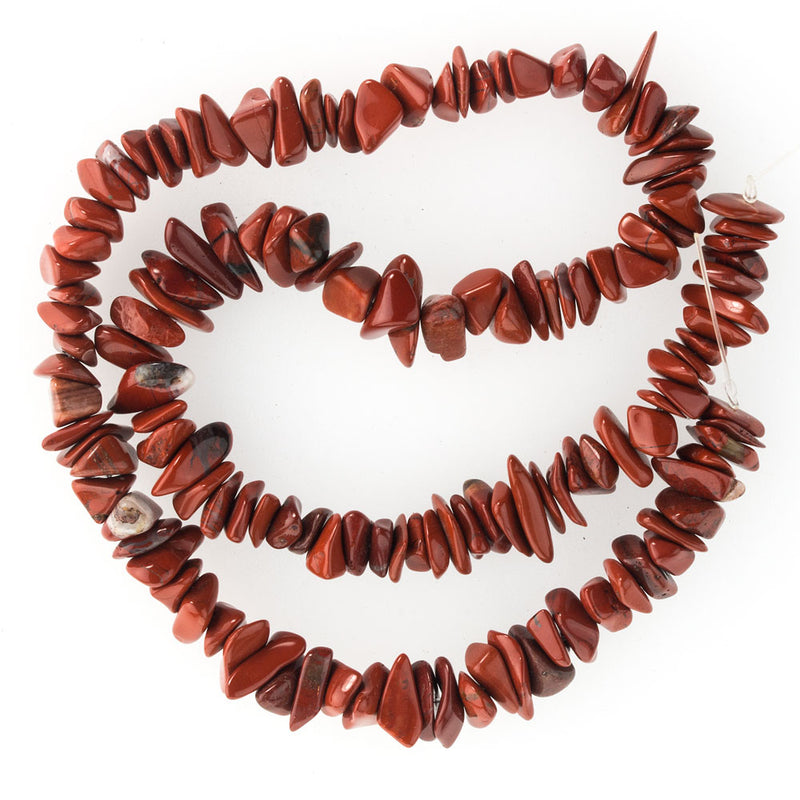 Natural red jasper large chip bead strand, India. 16