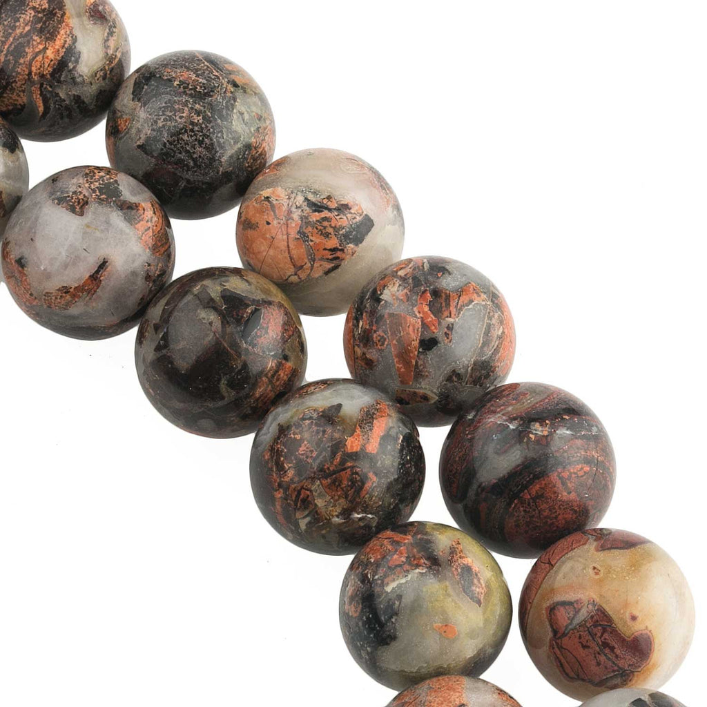 Vintage brecciated jasper beads 15-16mm. Package of 5. B4-jas262(e)