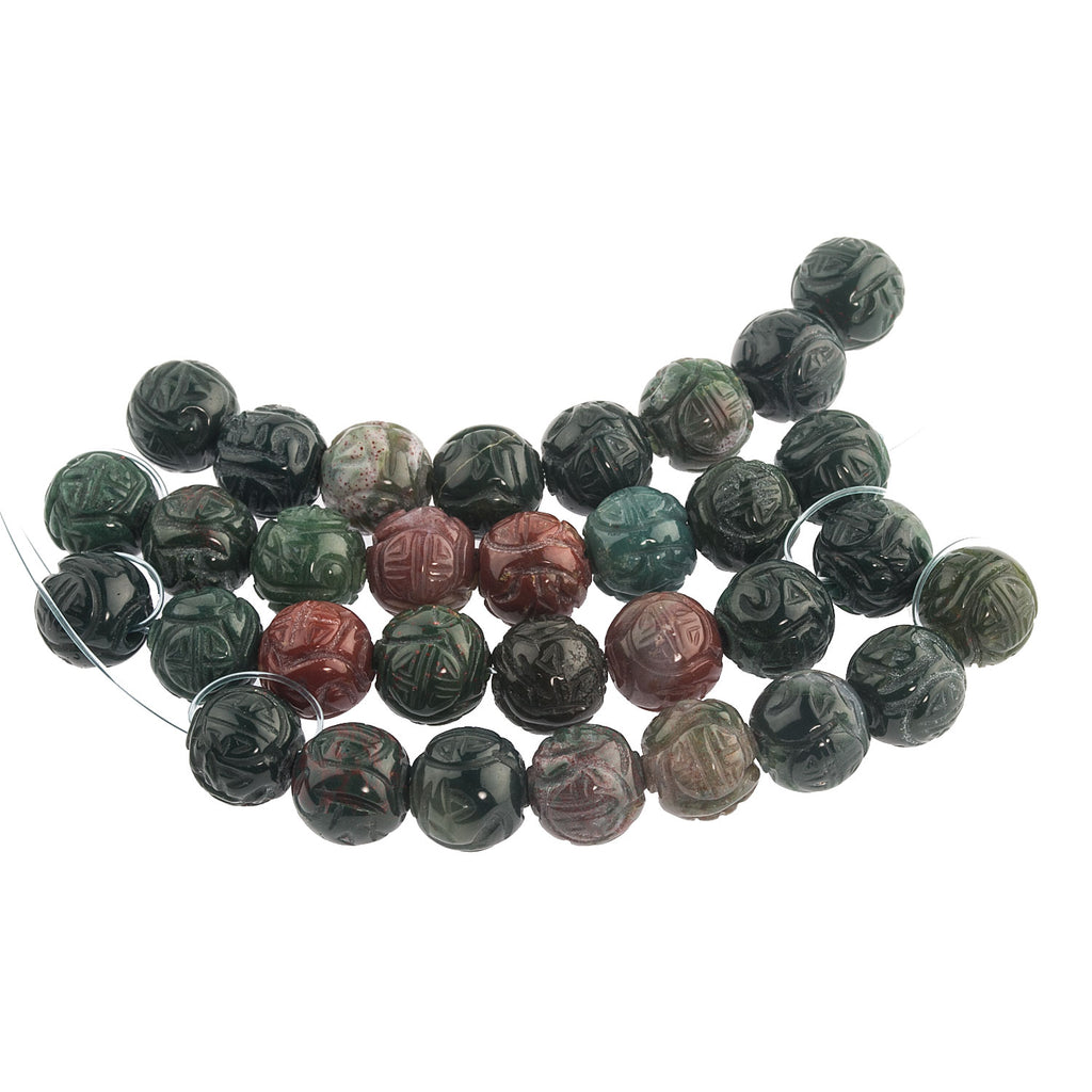 Carved natural  Bloodstone Jasper flower beads with longevity symbol. 10mm.  Strand of 8. b4-jas265