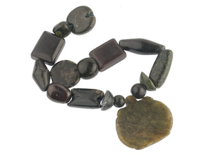 Strand of ancient green stone beads-India and Pakistan.  b4-jas267