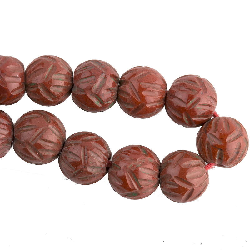 Vintage hand-carved natural brick red jasper beads.  7 to 8mm.  Pkg of 4. b4-jas270