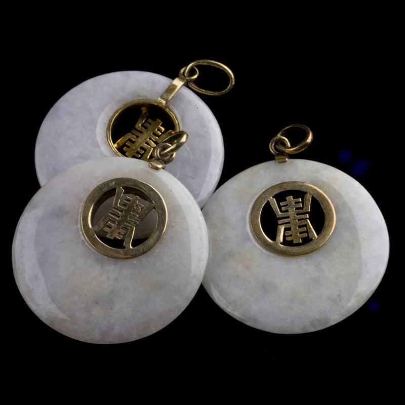 Vintage natural white jade disk with sterling silver vermeil