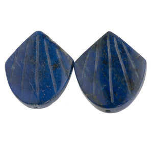 Carved Lapis Lazuli shell bead.  20x18mm. Pkg. 2. b4-lap293