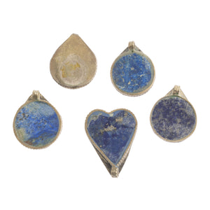 Group of 5 vintage  Afghan Kuchi tribal lapis and silver alloy pendants.21-29mm. b4-lap295
