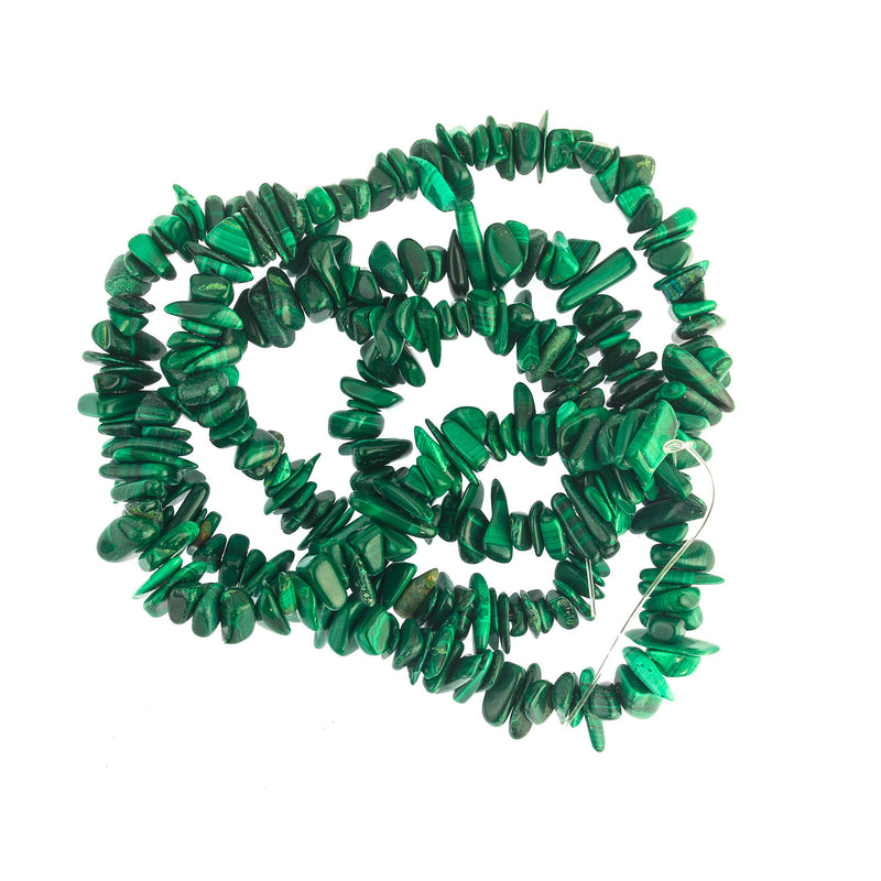 Vintage deep green 24 inch strand of Malachite tumble stones.  8-12mm.  B4-mal215