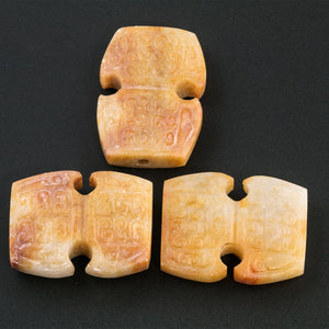 Three vintage elaborately carved etched honey colored marbled alabaster flat geometric beads. b1-misc111