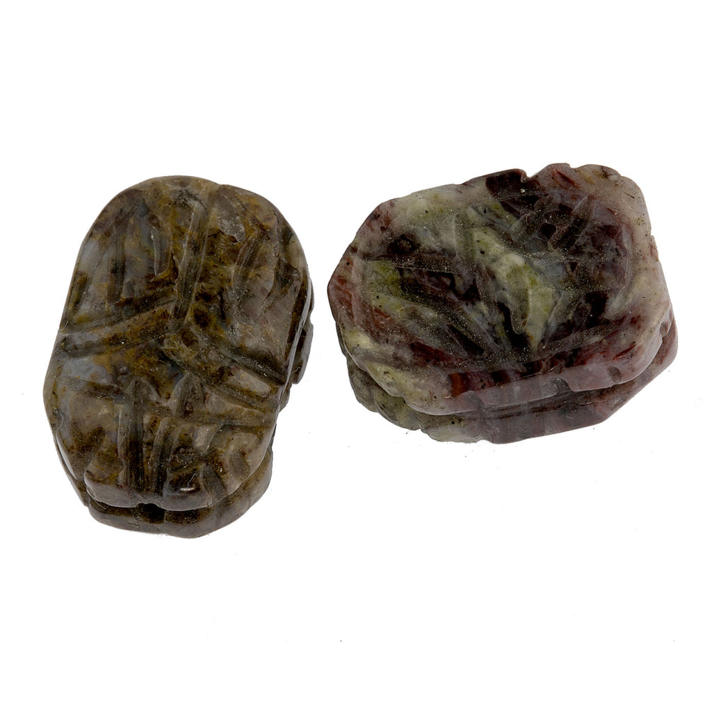 Carved Pietersite scarab beads, carved both sides. 18x13mm, package of 2. b4-pie100