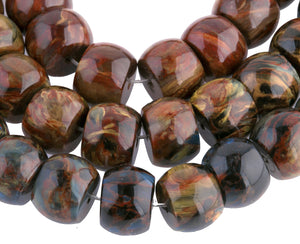 High quality Grade AA natural chatoyant Pietersite rondelle beads. 8x11mm. 8 inch strand. b4-pie101