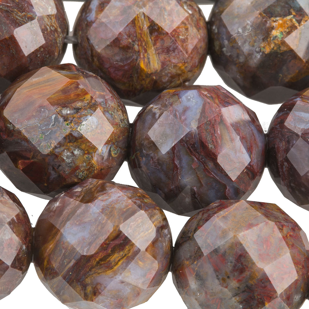 High quality vintage stock faceted natural  Pietersite faceted 12mm beads 16 inch strand.b4-pie102
