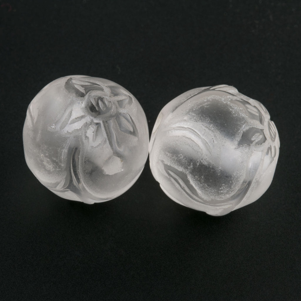 Carved Quartz Crystal Rounds with Floral Design in relief. 16mm. Pkg of 1. b4-qua322