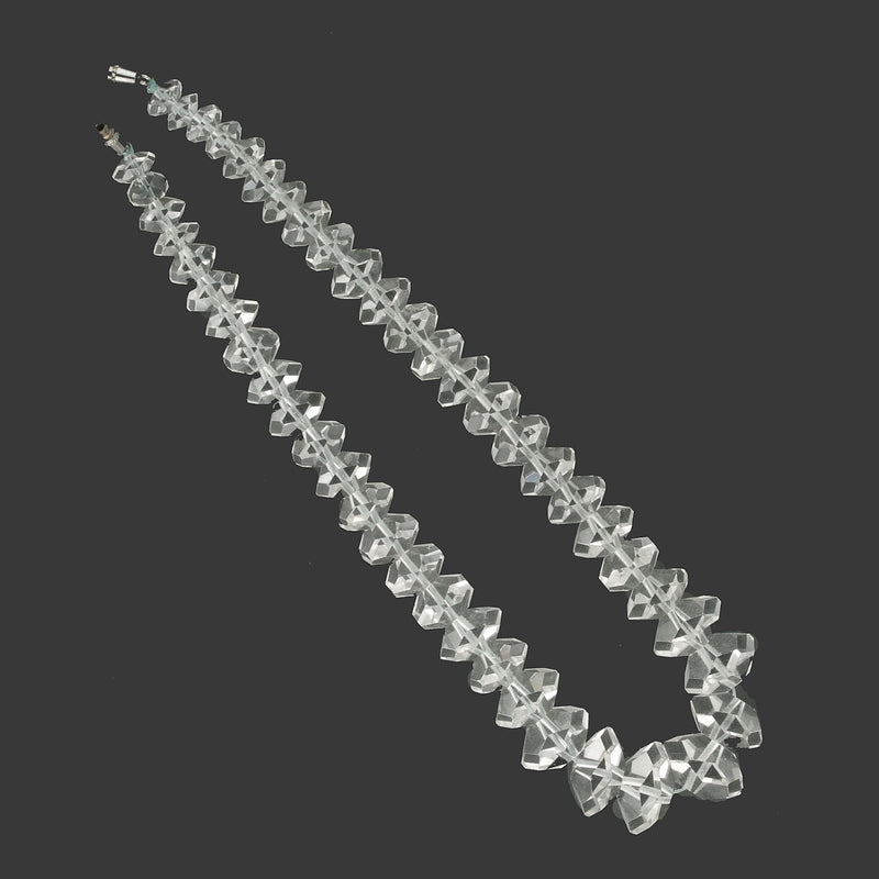 Vintage faceted rock crystal graduated bead strand.  b4-qua360
