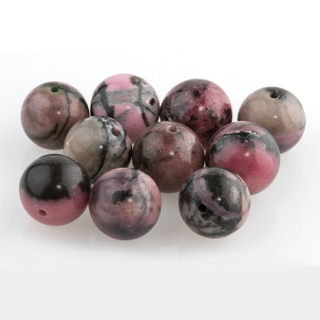 10mm old stock natural Australian rhodonite beads . Package of 10 b4-rho022-4