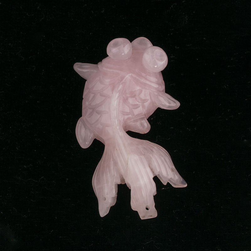 Rose quartz carved pendant of Telescope Eye Fan Tail Goldfish. Vintage Chinese export.52x30x17mm. b4-ros340