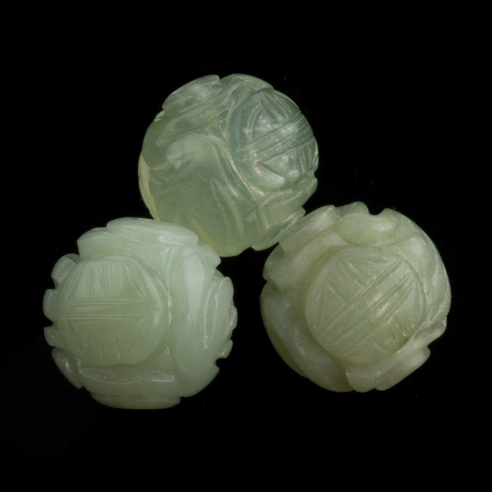 Carved green Hsiu Jade longevity bead. 10mm. Package of 2. b4-ser468