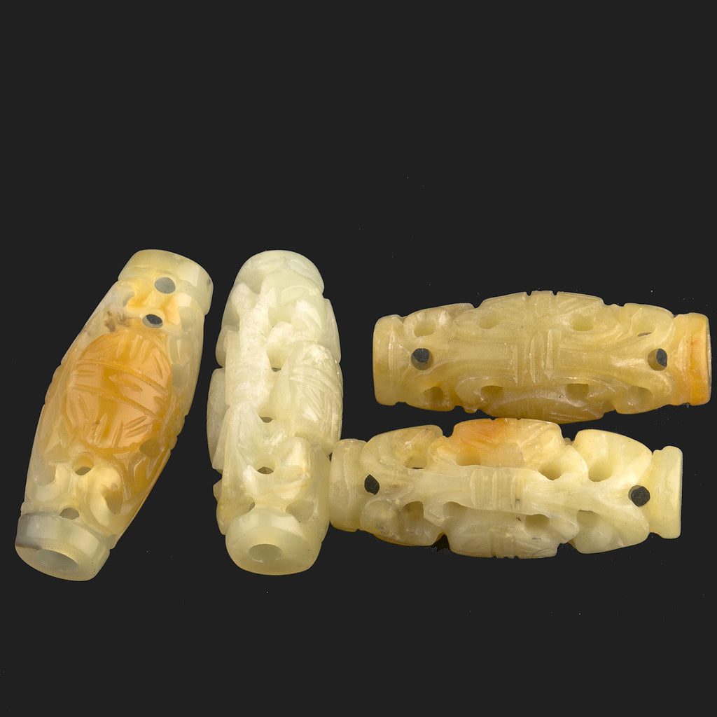 Carved Rainbow Hsiu Jade elongated oval with longevity symbol 32x12mm. 2 pieces. b4-ser494