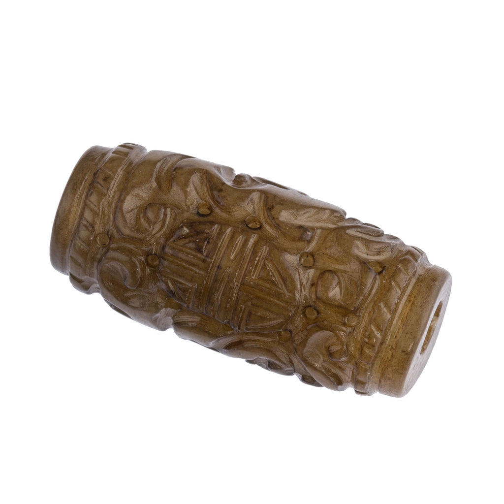 Deep carved and pierced dark tan  Hsiu Jade serpentine cylinder bead. 32x14mm. Sold individually. b4-ser507