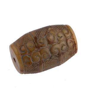 Vintage carved and etched brown and golden Chinese serpentine large barrel bead.  43x28mm. b4-ser508