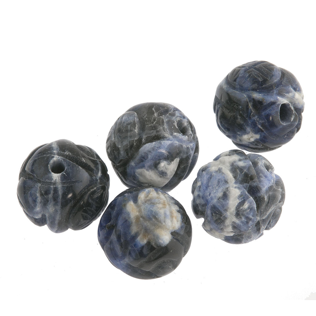 Carved Sodalite flower beads with a longevity symbol. 10mm. Pkg. 2. b4-sod134