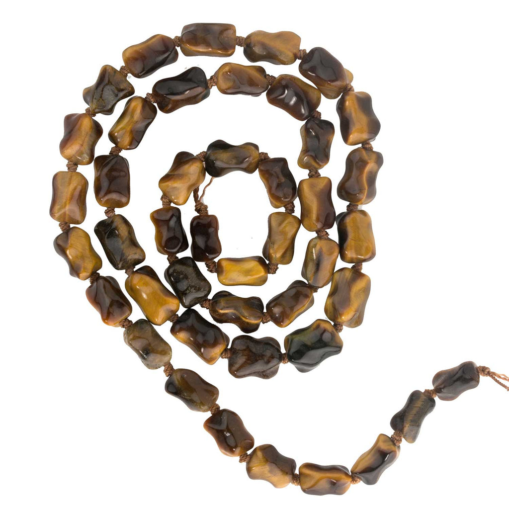 "Vintage stock tiger eye agate knuckle beads. Graduated 10 to 15mm 23"" knotted strand. b4-tig323(e)"