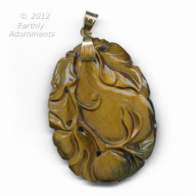 b4-tig331 - Vintage superb finely carved tiger eye agate gourd